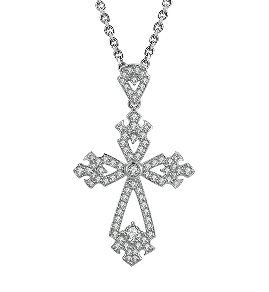 AMDXD Jewelry Silver Plated Women Pendant Necklace Cross Flower Cubic Zirconia as Birthday Gift