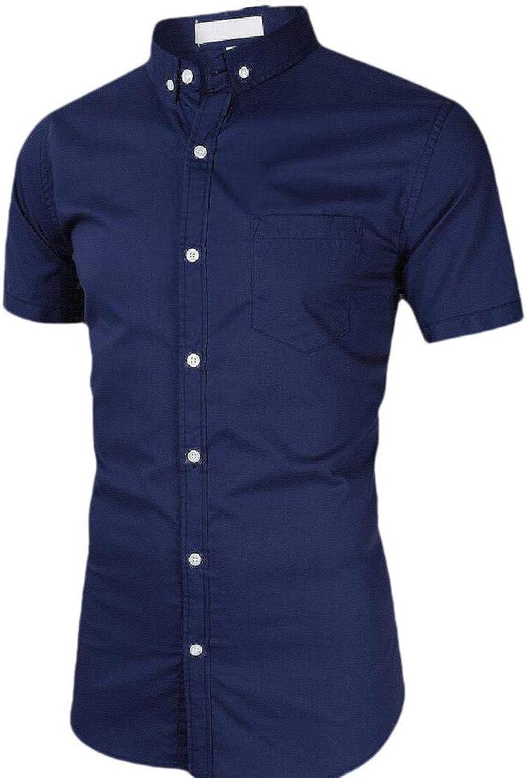 WSPLYSPJY Mens Casual Short Sleeve Dress Shirt Cotton Business Button Down Shirts