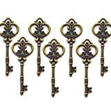 Aokbean Mixed Set of 20 Extra Large Antique Bronze Finish Skeleton Keys in Antique Style - Set of 20 Keys (Antique Bronze)