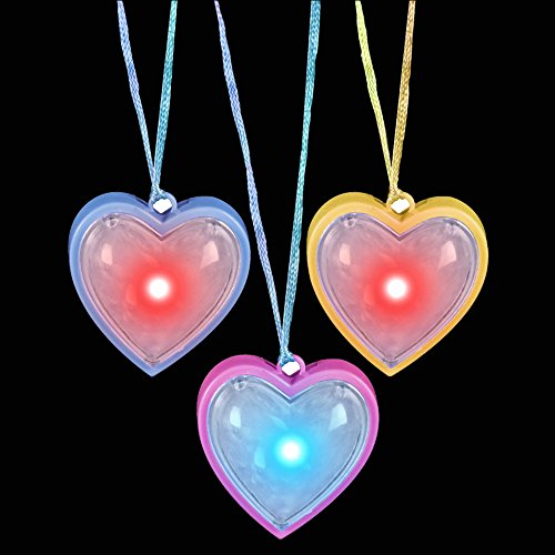 Fun Central AD623, 6 Pcs 13 Inches Assorted Flashing Light Up Heart Necklace, Glow in the Dark Necklace for Valentine's Day, Rave and Night Party