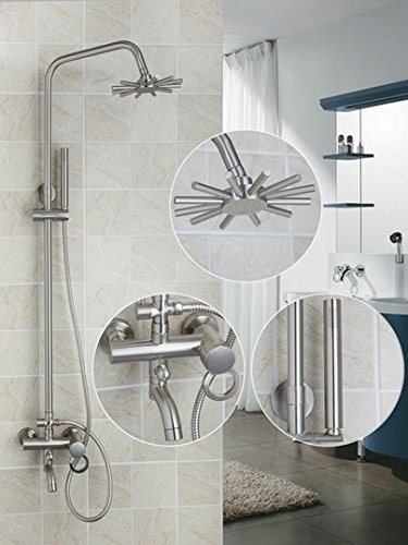 GOWE Bathroom Flower Shower Head Wall Mounted Tub Shower Faucet Brass Made Shower Set 8 Inch Rain Shower Head Tub Mixer Faucet 0