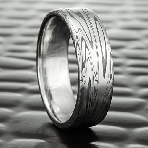 Flat Damascus Steel Wedding Ring with Fire Oxide | SWIRLING CURRENT