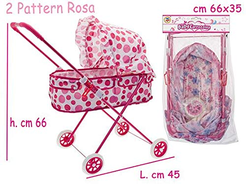 TEOREMA Theorem 04041-Metal Pram with Canopy, Assorted Colours