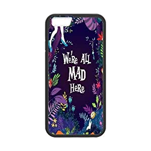 We Are all Mad Here Case Cover For Apple Iphone 5C We're all Mad Here Purple Floral Print, Protective We Are all Mad Here, {Black}