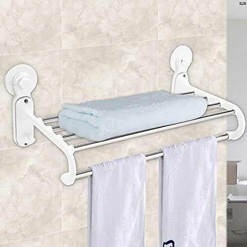 50%OFF BABAN Stainless Steel Bath Towel Rack Bathroom Shelf with Double Towel Bar Square Style Wall Mount Brushed Finish White
