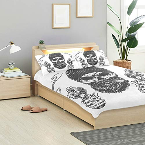 KVMV Bearded Mustached Gangster Skull Beanie Hat Duvet Cover Set Design Bedding Decoration Queen/Full 3 PC Sets 1 Duvets Covers with 2 Pillowcase Microfiber Bedding Set Bedroom Decor Accessories]()