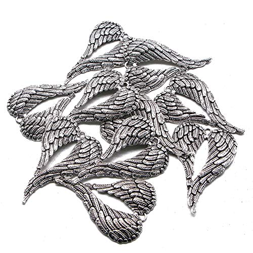 (JETEHO 10 Pack Large Angel Wings Pendants, Silver Tone Wings Charm for Jewelry Making)