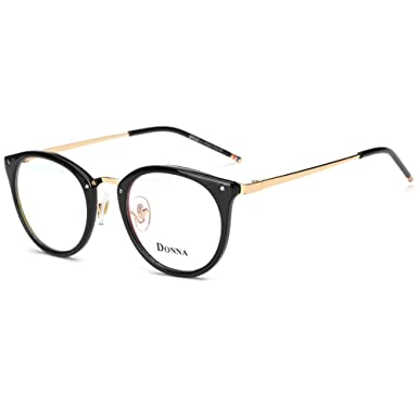 e1637c2a37bd DONNA Stylish Clear Lens Frame Glasses Samll Circle Blue Light Blocking for  Computer DN08-A