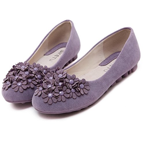 AgooLar Damen Schließen Zehe Ziehen Auf kunstleder Flache Schuhe Lila+Blumen