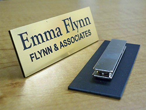 (Custom Engraved 1x3 Brushed Gold Name Tag | Badge With Magnetic Closure | Employee Identification Plate Magnet Sign Personalized)