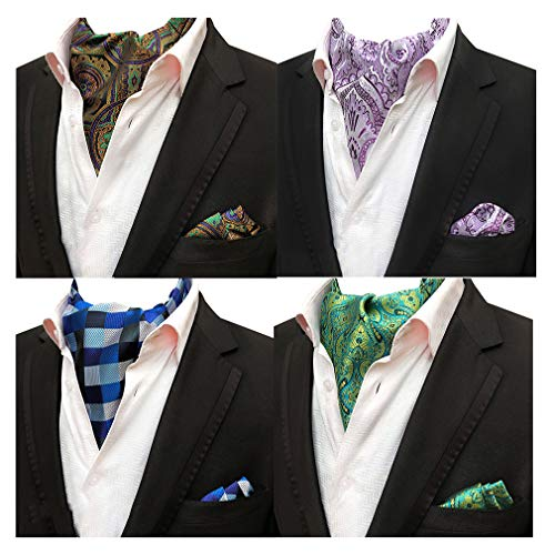 Tie Mens Silk Scarf - MOHSLEE Men's 4 Pack Plaid Floral Silk Cravat Ascot Scarf Ties Pocket Square Set