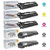 LD © Brother Compatible TN-210 Set of 5 High Yield Toner Cartridges: 2 Black TN210BK and 1 of each Cyan TN210C, Magenta TN210M, and Yellow TN210Y, Office Central