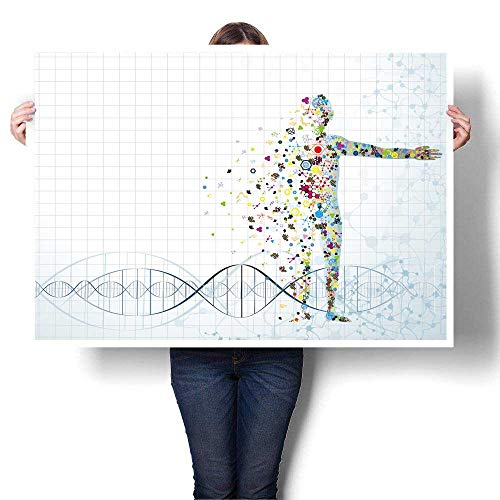 "SCOCICI1588 Modern Canvas Painting Wall Art Molecule Body The Human DNA eps Oil Painting,16"" W x 12"" L Wall Stickers (Frameless)"