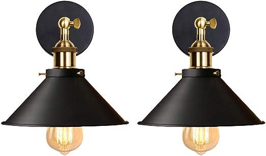 Blanc 22CM iDEGU Lot de 2 Applique Murale Industrielle Lampe de Plafond de Style Edison M/étal Plafonnier R/étro avec Rotation /à 180 Degr/és