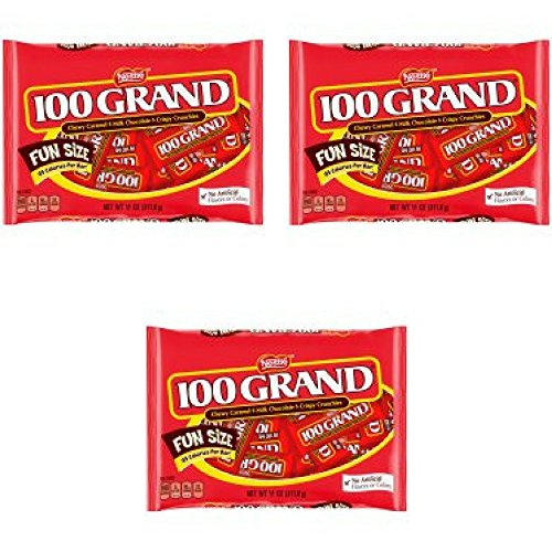 100 Grand Candy Bars, Fun Size, 11 Oz - Pack of 3