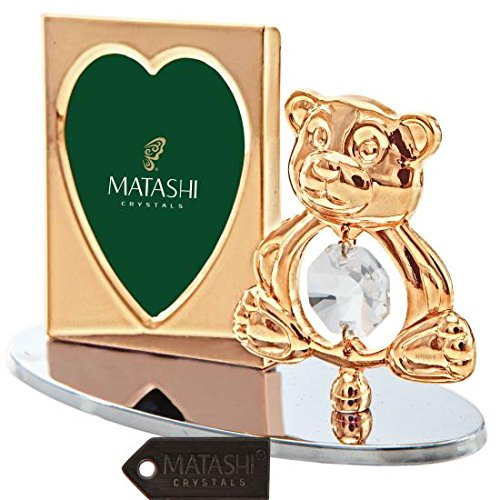 24k Gold Plated Picture Frame Desk Set with Crystal Decorated Teddy Bear Figurine on a Silver Base by -