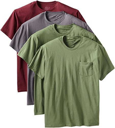 Fruit of the Loom Men's Pocket Crew Neck T-Shirt (Pack of 4)