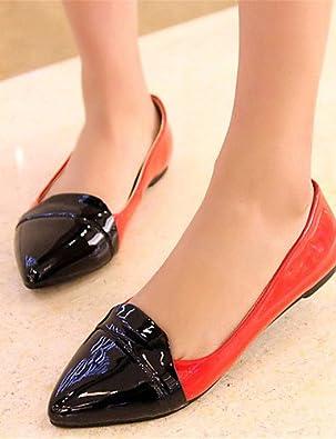 DFGBDFG PDX/Damen Schuhe Patent Leder flach Ferse Komfort/spitz Wohnungen Office & Karriere/Kleid/Casual Blau/Rot/mandel, blue-us4-4.5/eu34/uk2-2.5/cn33 - Größe: One Size