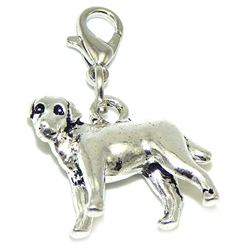 GemStorm Silver Plated Dangling Lobster Clasp 3D Dog Clip on Chain Bracelets