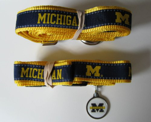 Michigan University Wolverines Premium Pet Set Dog Leash Collar ID Tag SMALL