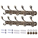 Dseap Wall Mounted Coat Rack - 5 Double Hooks, Heavy Duty, Vintage, Metal Coat Hook Rail for Coat Hat Towel Purse Robes Mudroom Bathroom Entryway (Seashell, Bronze, 2 Packs)