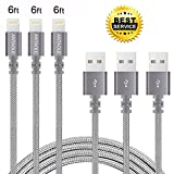 #6: iPhone Charger, ANTAOLE 3PACK 6Feet Nylon Braided Charging Cable Cord Lightning to USB Cable Charger Compatible with iPhone 7/ 7 Plus/6/6s/6 plus/6s plus/ 5c/5s/5SE, iPod, iPad, and More (Gray)
