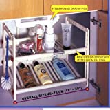 Our under sink storage shelf creates organization space, can custom fit both height and width, goes around pipes, and gets you organized