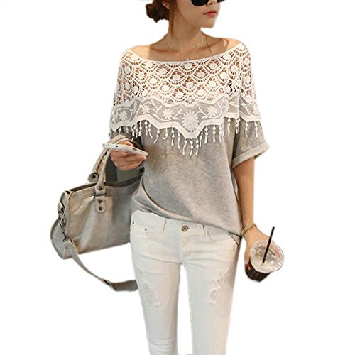 Weixinbuy Lady Lace Cape Collar Cutout Crochet Batwing Sleeve Tops Blouse M