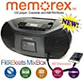 Memorex CD/Cassette Recorder Boombox MP3 AM/FM FlexBeats MP3261 with Aux line in jack - Black by Memorex