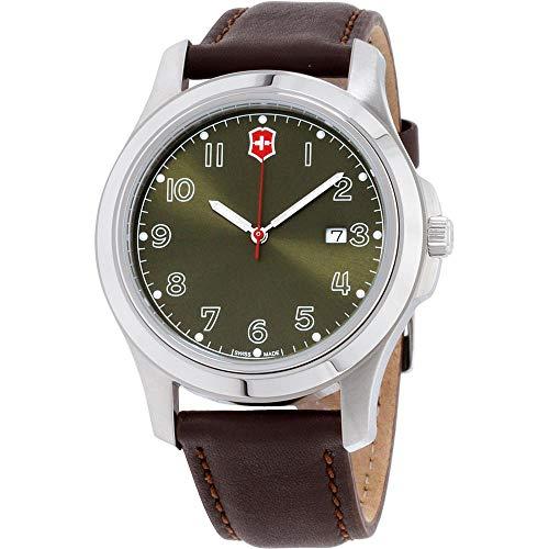 Victorinox Garrison Green Dial Leather Strap Men's Watch 26070CB