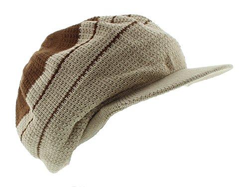 Knit Hat Dreadlock - JFH Rasta Dreadlocks Visor Hat Multiple Designs and Colors (Brown/Khaki)