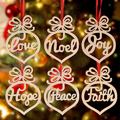 Facmogu 12PCS Wooden Christmas Ornaments Hanging Tags Openwork Pendant, DIY Xmas Tree Decorations with Strings