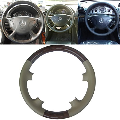 Mercedes Wood Leather Steering Wheel (Tan Leather Brown Wood Steering Wheel Protector Cover Cap for Mercedes Benz 2002-2005 W211 E Class E200 E270 E300 E320 E400 E500)