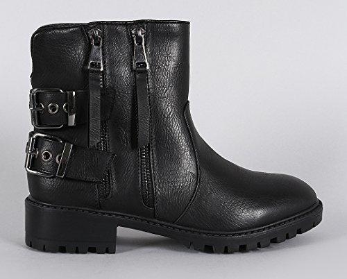 Leather Zipper Qupid Double Toe Black Shoe Combat Burnished Boots Round Faux Women's Heeled Ankle Walsh Boot xwIYIqfg