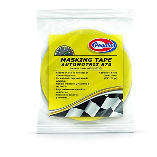PEGAFAN AUTOMOTIVE PERFORMANCE VALUE PACK (5 ROLLS) Refinish YELLOW Masking Tape 3/4'' x 55yd. 200 F Performance Temperature, 28 lbsin Tensile Strength. #1 Voted in specialized painting Workshops. by PEGAFAN (Image #5)
