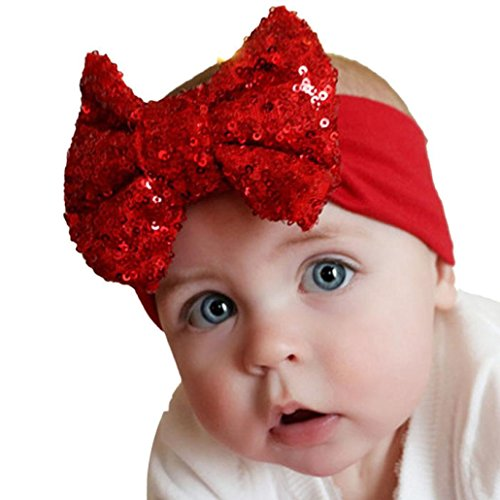 coromose Elastic Headband Cute Sequins Bow Baby Girl Hair Accessories (Red)
