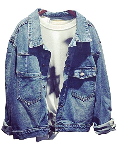 ZhuiKun Chaqueta De Mezclilla Denim Jacket Suelto Manga Larga para Mujer Como Imagen