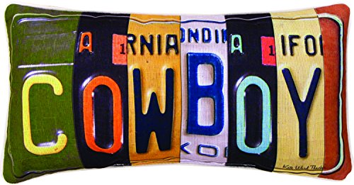 - Manual Woodworkers & Weavers Vanity Plates Throw Pillow, Cowboy, 17 x 9