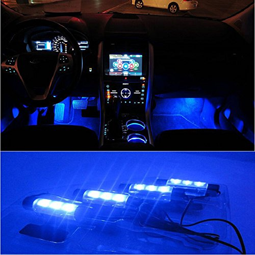 Docooler 12V 12 LED Car Auto Interior Atmosphere Lights Decoration Lamp - Blue (Leds Lights For Cars compare prices)