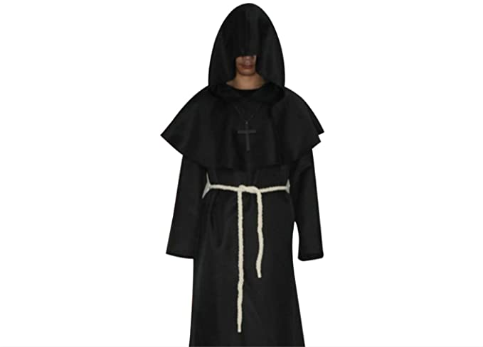 Mengonee Unisex Cosplay Traje Medieval monjes Robe Asistente Vestido Cristianos Pastor