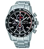 Seiko Sportura Solar Chronograph Black Dial Stainless Steel Mens Watch SSC271