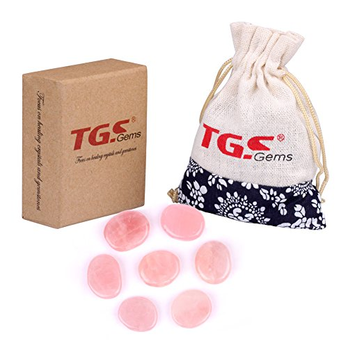 TGS Gems 7 Piece Rose Quartz Chakra Stone Palm Stone healing crystals Reiki with One Pouch