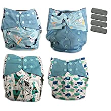 BambooDrive Bamboo Charcoal Pocket Cloth Diaper Set One Size (4 Diapers + 4 Inserts) (Blue)