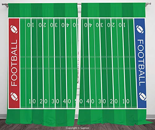 Rod Pocket Curtain Panel Polyester Translucent Curtains for Bedroom Living Room Dorm Kitchen Cafe/2 Curtain Panels/108 x 84 Inch/Football,American Football Field Playground Stripes and Numbers ()