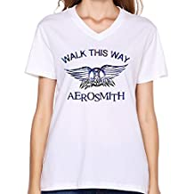 FQZX Women's Aerosmith Walk This Way V Neck T Shirt Large White
