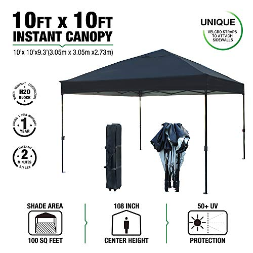 - kdgarden 10 x 10 Ft. Outdoor Pop Up Waterproof Canoy with 300D Top, Portable Silver Coated UV Canopy Tent for Outdoor Use, Easy Up Tent with Roller Bag, Black