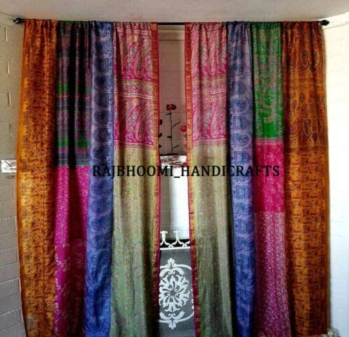 1 Pair of Indian Vintage Silk Sari Multi Color Assorted Color Handmade Patchwork Curtains Drapes Home Decor Curtain /Panels Review