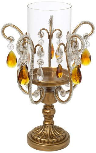 Clear and Amber Crystal Hurricane Candle Holder Gold Hurricane Lamp