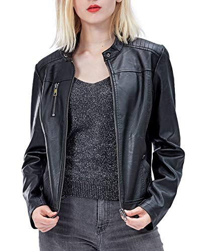 Fahsyee Women's Faux Leather Jackets, Zip Up Motorcycle Short PU Moto Biker Outwear Fitted Slim Coat Black
