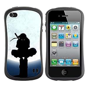 LASTONE PHONE CASE / Suave Silicona Caso Carcasa de Caucho Funda para Apple Iphone 4 / 4S / Ninja Black Mask Fighter Warrior Martial Arts